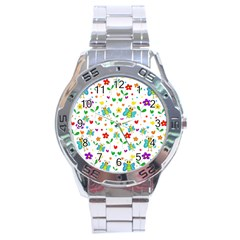 Cute Butterflies And Flowers Pattern Stainless Steel Analogue Watch by Valentinaart