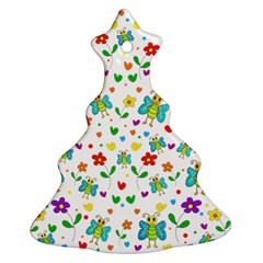 Cute Butterflies And Flowers Pattern Ornament (christmas Tree)