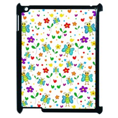 Cute Butterflies And Flowers Pattern Apple Ipad 2 Case (black)