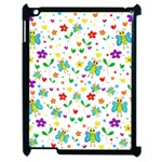 Cute butterflies and flowers pattern Apple iPad 2 Case (Black) Front