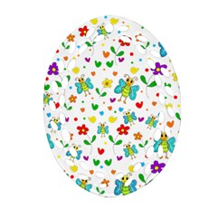 Cute Butterflies And Flowers Pattern Ornament (oval Filigree) by Valentinaart