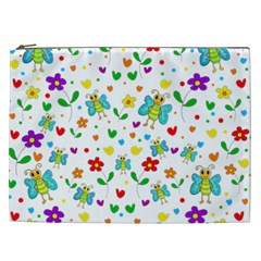 Cute Butterflies And Flowers Pattern Cosmetic Bag (xxl)  by Valentinaart