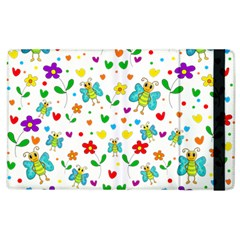 Cute Butterflies And Flowers Pattern Apple Ipad 2 Flip Case by Valentinaart