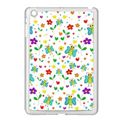 Cute Butterflies And Flowers Pattern Apple Ipad Mini Case (white) by Valentinaart