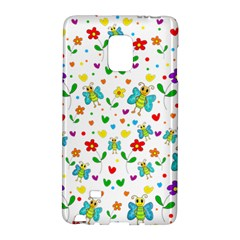 Cute Butterflies And Flowers Pattern Galaxy Note Edge by Valentinaart