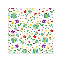 Cute Butterflies And Flowers Pattern Small Satin Scarf (square) by Valentinaart