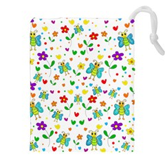 Cute Butterflies And Flowers Pattern Drawstring Pouches (xxl) by Valentinaart