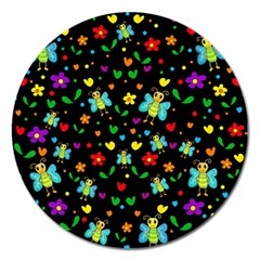 Butterflies And Flowers Pattern Magnet 5  (round) by Valentinaart