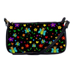 Butterflies And Flowers Pattern Shoulder Clutch Bags by Valentinaart