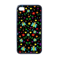 Butterflies And Flowers Pattern Apple Iphone 4 Case (black) by Valentinaart