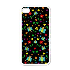 Butterflies And Flowers Pattern Apple Iphone 4 Case (white)