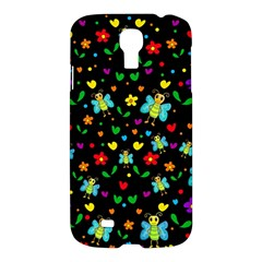 Butterflies And Flowers Pattern Samsung Galaxy S4 I9500/i9505 Hardshell Case by Valentinaart