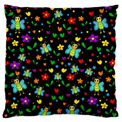 Butterflies And Flowers Pattern Large Flano Cushion Case (two Sides) by Valentinaart