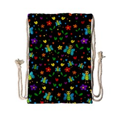 Butterflies And Flowers Pattern Drawstring Bag (small)