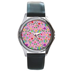 Cute Butterflies And Flowers Pattern   Pink Round Metal Watch by Valentinaart