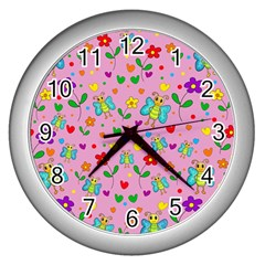 Cute Butterflies And Flowers Pattern   Pink Wall Clocks (silver)  by Valentinaart