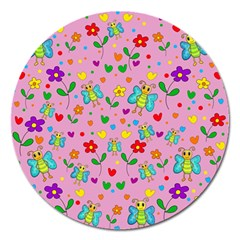 Cute Butterflies And Flowers Pattern   Pink Magnet 5  (round) by Valentinaart