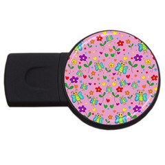 Cute Butterflies And Flowers Pattern   Pink Usb Flash Drive Round (2 Gb) by Valentinaart