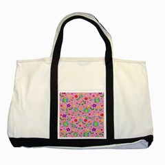 Cute Butterflies And Flowers Pattern   Pink Two Tone Tote Bag by Valentinaart