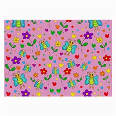 Cute Butterflies And Flowers Pattern   Pink Large Glasses Cloth (2 Side) by Valentinaart