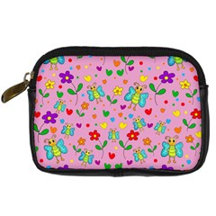 Cute Butterflies And Flowers Pattern   Pink Digital Camera Cases by Valentinaart