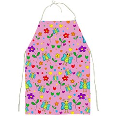 Cute Butterflies And Flowers Pattern   Pink Full Print Aprons by Valentinaart