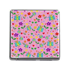 Cute Butterflies And Flowers Pattern   Pink Memory Card Reader (square) by Valentinaart