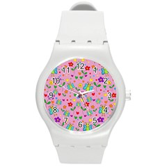 Cute Butterflies And Flowers Pattern   Pink Round Plastic Sport Watch (m) by Valentinaart