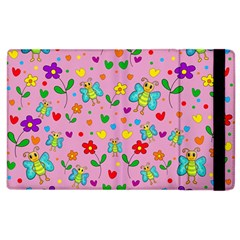 Cute Butterflies And Flowers Pattern   Pink Apple Ipad 2 Flip Case by Valentinaart