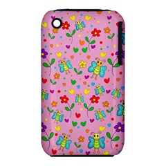 Cute Butterflies And Flowers Pattern   Pink Iphone 3s/3gs by Valentinaart