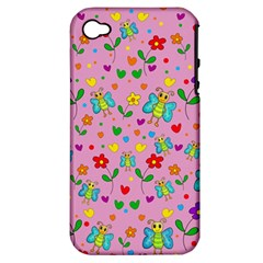 Cute Butterflies And Flowers Pattern   Pink Apple Iphone 4/4s Hardshell Case (pc+silicone) by Valentinaart