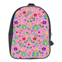 Cute Butterflies And Flowers Pattern   Pink School Bags (xl)  by Valentinaart