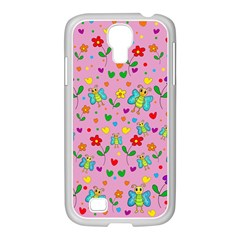 Cute Butterflies And Flowers Pattern   Pink Samsung Galaxy S4 I9500/ I9505 Case (white) by Valentinaart