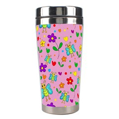 Cute Butterflies And Flowers Pattern   Pink Stainless Steel Travel Tumblers by Valentinaart