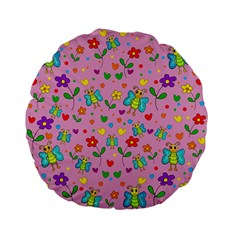 Cute Butterflies And Flowers Pattern   Pink Standard 15  Premium Flano Round Cushions by Valentinaart
