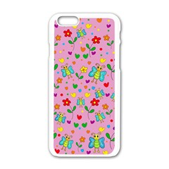 Cute Butterflies And Flowers Pattern   Pink Apple Iphone 6/6s White Enamel Case by Valentinaart