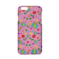 Cute Butterflies And Flowers Pattern   Pink Apple Iphone 6/6s Hardshell Case by Valentinaart