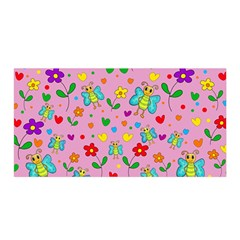 Cute Butterflies And Flowers Pattern   Pink Satin Wrap by Valentinaart