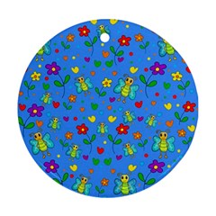 Cute Butterflies And Flowers Pattern   Blue Ornament (round) by Valentinaart