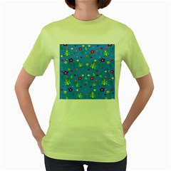 Cute Butterflies And Flowers Pattern   Blue Women s Green T Shirt