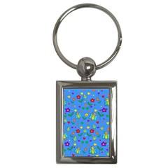 Cute Butterflies And Flowers Pattern   Blue Key Chains (rectangle)  by Valentinaart