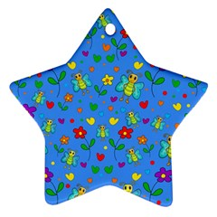 Cute Butterflies And Flowers Pattern   Blue Star Ornament (two Sides) by Valentinaart