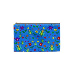 Cute Butterflies And Flowers Pattern   Blue Cosmetic Bag (small)  by Valentinaart