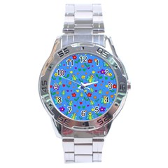Cute Butterflies And Flowers Pattern   Blue Stainless Steel Analogue Watch by Valentinaart