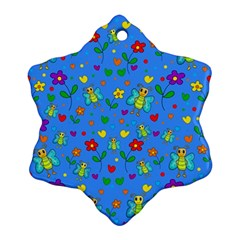 Cute Butterflies And Flowers Pattern   Blue Snowflake Ornament (two Sides)
