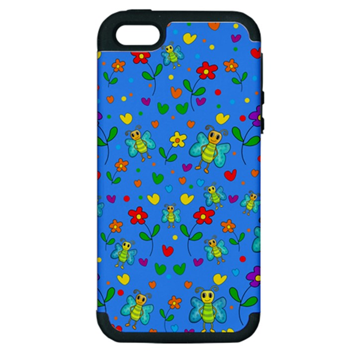 Cute butterflies and flowers pattern - blue Apple iPhone 5 Hardshell Case (PC+Silicone)