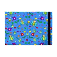Cute Butterflies And Flowers Pattern   Blue Apple Ipad Mini Flip Case by Valentinaart