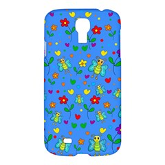 Cute Butterflies And Flowers Pattern   Blue Samsung Galaxy S4 I9500/i9505 Hardshell Case by Valentinaart