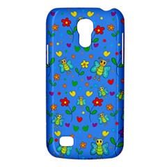 Cute Butterflies And Flowers Pattern   Blue Galaxy S4 Mini by Valentinaart