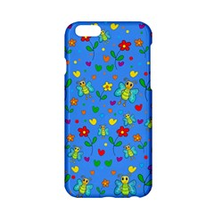 Cute Butterflies And Flowers Pattern   Blue Apple Iphone 6/6s Hardshell Case by Valentinaart